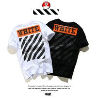 Off White Cotton Alphabet Short Sleeve Couple T-shirts Bottoming Shirt [10262367763]