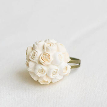 Ring with a miniature bouquet cream ivory and by GentleDecisions