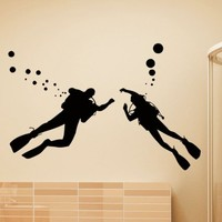 Vinyl Wall Decals Scuba Diver Diving Ocean Sea Bathroom Decal Sticker Home Decor Art Mural Z632