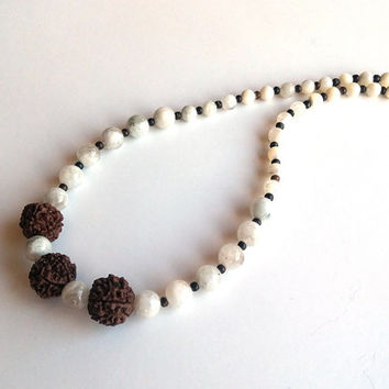 Moonstone Necklace, Rudraksha Mala Beads, Moonstone Jewellery, Gemstone, Christmas Gift, Mala Necklace, Gift İdea, Women Necklace