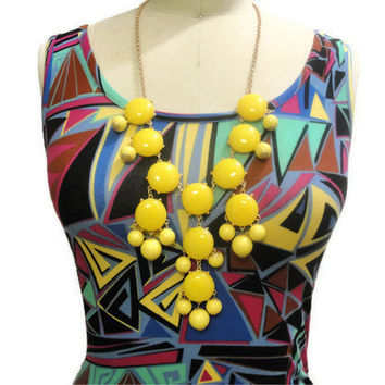 Bubble Necklace, Bubble Statement Necklace, Yellow Bubble Necklace, J Crew Inspired, Yellow,