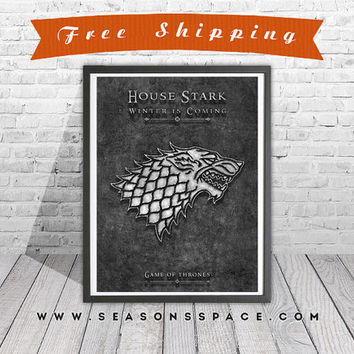 Game Of Thrones art print. House Stark poster. Winter is coming. Silver poster. Handmade poster.
