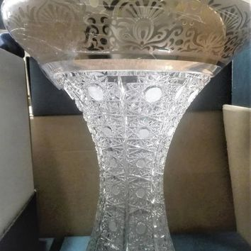 Czech bohemia crystal glass - Luxuy Cut vase 25cm decorated gold and engraving
