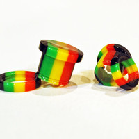 "PAIR weed seed plugs ...choose size... 0g 8mm 00g 9mm 1/2"" 12.5mm 9/16"" 14mm 5/8"" 16mm rasta screw fit tunnels REAL hemp ...ready to ship..."