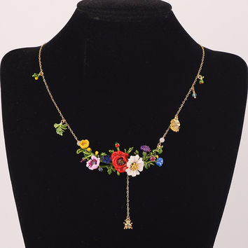 France Les Nereides Enamel Necklaces Red Flowers Green Leaves Beautiful Fashion Gold Necklace.