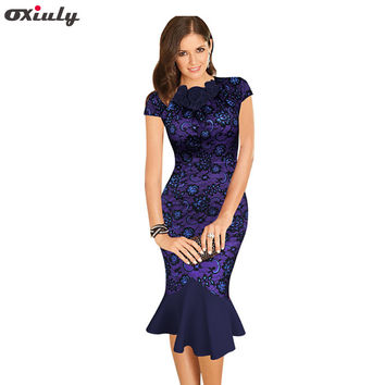Oxiuly Womens Elegant 1950s Vintage Purple Flower Lace Fitted Stretch Bodycon Formal Party Sheath Wiggle Mermaid Dress