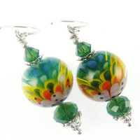Green Lampwork Earrings, Floral Glass Bead Earrings, Yellow Abstract Earrings, Glass Bead Jewelry, Lampwork Jewelry, Beadwork Earrings