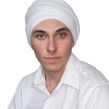 Man's Turban Head Wrap, Tactical Scarf, White