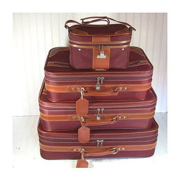 Vintage Jaguar 4 Piece Matching Luggage Set - Retro EggPlant Nylon with Saddle Trim Nesting Collection - 2 Pullman 2 CarryOn SuitCases Keys
