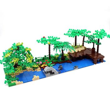 Free Shipping! Moc DIY Garden Tree Courtyard Enlighten  Building  Block Bricks Compatible Potted Plant Decoration With