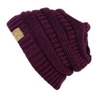 Unisex Trendy Warm Chunky Soft Stretch Cable Knit Slouchy Beanie Skully one size deep purple