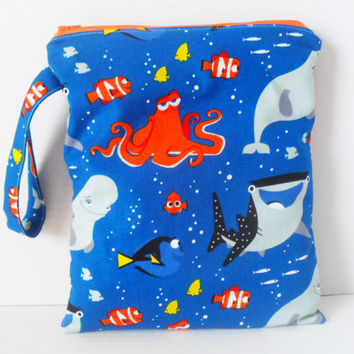 Wet Bag - Zipper Closure - Finding Dory Fabric / Diaper Bag / Wetbag - Cloth Diapers - Ocean - Shark - Fish - Octopus