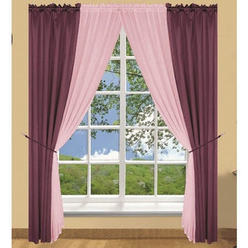 6 Piece Palmer Window In A Bag Curtain Set- Purple/ Lilac