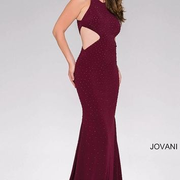 Eggplant beaded Sleeveless Cutout Long fitted jersey Dress.