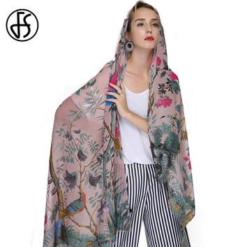 FS Echarpe Foulard Femme Scarf Women Cotton Linen Animal Print Shawls Scarves Large Hijab Pashmina Floral Tree Bird Bandana Head