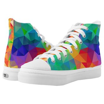 Bold Rainbow Of Colors Polygon Printed Shoes