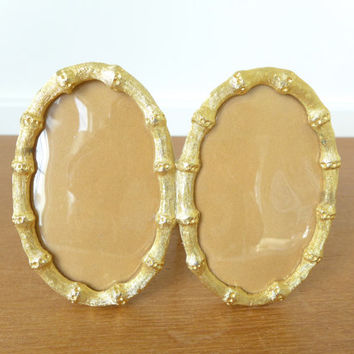 Double oval gold bamboo style picture frame