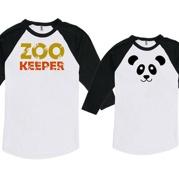 Matching Father And Baby Dad And Daughter Shirts Dad And Son Gift Zookeeper And Panda Bodysuit American Apparel Unisex Raglan MAT-732-733