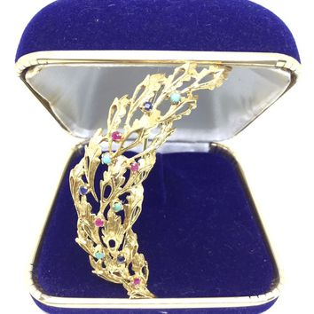 18K Yellow Gold Branch Leaf Multi Color Gem Brooch Pin Pendant 10042