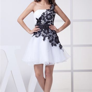Weddings Events Special Fashion Girl New Design Robe De Cocktail Party Dress Sexy One Shoulder Lace Cocktail Dresses 2017 CK6188