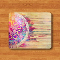 Dreamcatcher Watercolor Mandala Mouse Pad Art Messy Painting MousePad Rectangle Matte Personalized Gift Desk Deco Native American Pattern