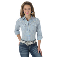 Wrangler Women's Premium Long Sleeve with Snap Tabs Plaid Shirt Blue Cream