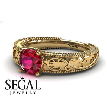 Unique Engagement Ring 14K Yellow Gold Vintage Art Deco Ring Antique Ring Edwardian Ring Ruby - London