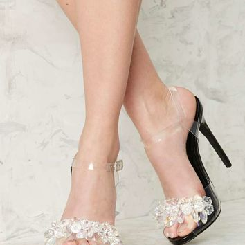 Privileged Golden Clear Crystal Heel