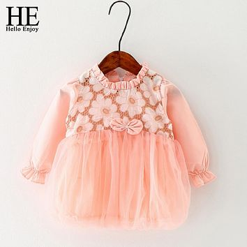 Infant Dress Flower Girls Dresses Long Sleeve Bow Baby Girls Princess baptism Dresses For First Birthday Party