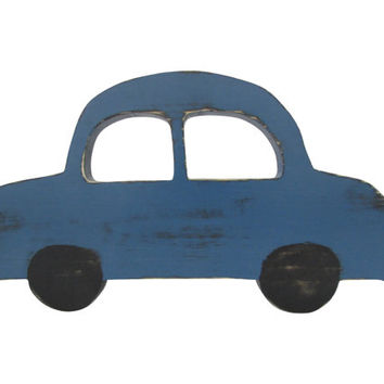 Wooden Car in Navy with black tires Wood Sign Wall Decor Rustic Americana Chic Photo Prop Nursery Kids Decor Vintage Car Boys Room Decor
