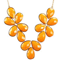 Floral Drop Shaped Statement Necklace