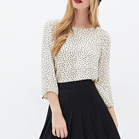 FOREVER 21 Polka Dot Chiffon Top Cream/Black