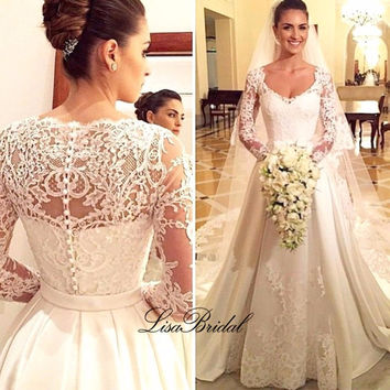Vestidos de noiva New Design Long Wedding Dress 2017 V-neck Long Sleeves Chapel Train Lace Satin A-Line Wedding Gowns With Veil