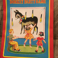 Vintage pin tail on donkey, donkey party game, birthday game, Japan, party,
