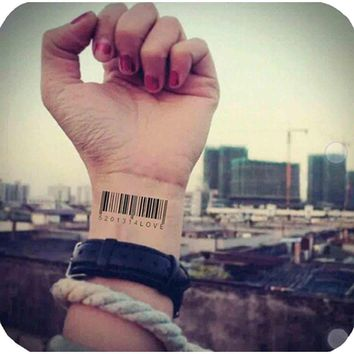 Matrix Barcode Temporary Tattoo Body Art Flash Tattoo Sticker  Waterproof Henna Tatoo Selfie Wall Sticker