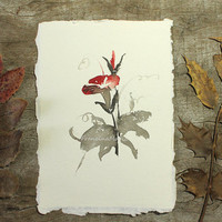 Watercolor Painting Art Flowers Original red floral Aquarelle Handmade Paper A5 Cottage Wall Artwork
