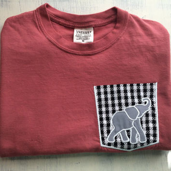 University of Alabama elephant monogrammed pocket tshirt comfort colors