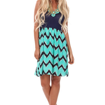 Mint and Navy Chevron Patterned Dress