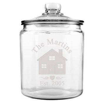 Personalized Glass Cookie / Candy Jar Custom Family Name Etched Glass 1 Gallon