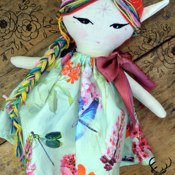 Wood Fairy- OOAK cloth doll; Ready to ship; fantasy doll, cloth doll, rag doll, fairy doll, pixie doll. elf doll, fairytale