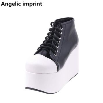 Angelic imprint mori girl Women platform shoes lady lolita ankle Boots woman princess high heels pumps short boots 33-47 lace up