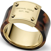 Michael Kors Gold-Tone Tortoise Logo Plaque Ring