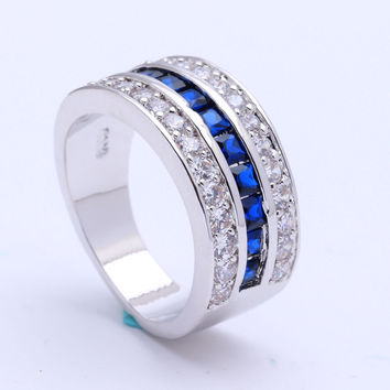 royal blue Czech zircon silver plated engagement ring for women fashion jewellery Wedding vintage luxury gift Ring jewelry