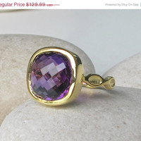 Sale Cushion Amethyst Engagement Ring- Purple Amethyst Rings- Square Shaped Ring- Statement Ring- Birthstone Ring- Anniversary Ring- Promise
