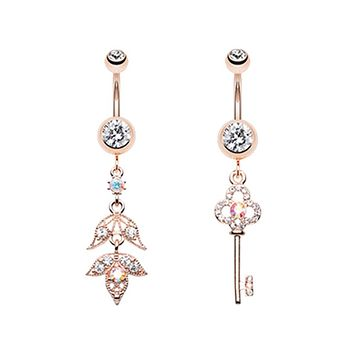 Rose Gold Falling for You & Key to Happiness Belly Button Ring