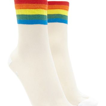Rainbow Stripe Sheer Crew Socks