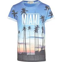 Blue Miami sunset print t-shirt - print t-shirts - t-shirts / tanks - men