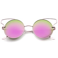Wire Flare Round Cat Eye Mirrored Lens Sunglasses A341