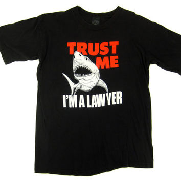 Vintage Shark Lawyer T Shirt - Black White Red Tshirt - Men's Size Extra Large X Lrg XL