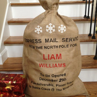 Christmas Burlap Santa Bag, Santa Sack, Express Mail Service with Snowflakes, Personalized with Child or Family name
